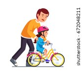 caring dad teaching daughter to ... | Shutterstock .eps vector #672048211