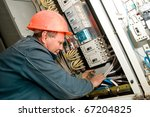 one electrician working on a... | Shutterstock . vector #67204825