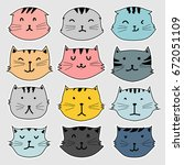 set of sticker  cute cat vector ... | Shutterstock .eps vector #672051109