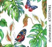 seamless tropical pattern of... | Shutterstock . vector #672057481