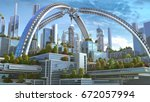 3d illustration of a futuristic ... | Shutterstock . vector #672057994