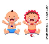 newborn babies girl  boy... | Shutterstock .eps vector #672058354