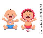 newborn babies girl  boy... | Shutterstock .eps vector #672058354