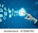 hand press cloud | Shutterstock . vector #672060781