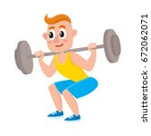 young man squatting with... | Shutterstock .eps vector #672062071