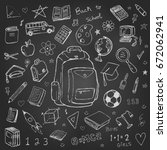 back to school vector doodles... | Shutterstock .eps vector #672062941