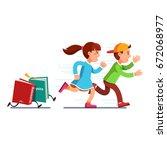 scared school students running... | Shutterstock .eps vector #672068977