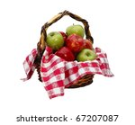 An isolated basket of green and red apples with a red and white checkered cloth with a clipping path - stock photo
