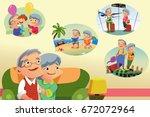 a vector illustration of senior ... | Shutterstock .eps vector #672072964