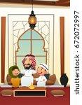 a vector illustration of muslim ... | Shutterstock .eps vector #672072997