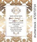 vintage baroque style wedding... | Shutterstock .eps vector #672073714