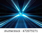 futuristic abstract light and... | Shutterstock . vector #672075271