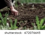 old grandfather planting seeds... | Shutterstock . vector #672076645