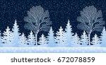 seamless horizontal winter... | Shutterstock . vector #672078859
