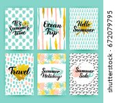 summer time trendy posters.... | Shutterstock .eps vector #672079795