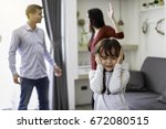 crying girl with his fighting... | Shutterstock . vector #672080515