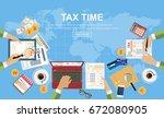 flat design.  tax  payment... | Shutterstock .eps vector #672080905