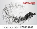 kangaroo of particles. kangaroo ... | Shutterstock .eps vector #672085741