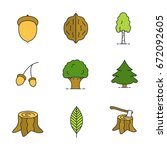 forestry color icons set.... | Shutterstock .eps vector #672092605