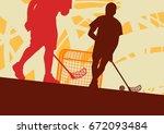 floorball player indoor... | Shutterstock .eps vector #672093484