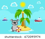 bear on the island. bathing.... | Shutterstock . vector #672095974