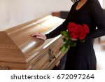 people and mourning concept  ... | Shutterstock . vector #672097264