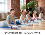 fitness  yoga and healthy... | Shutterstock . vector #672097945
