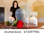 cremation  people and mourning... | Shutterstock . vector #672097981