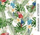 beautiful watercolor seamless... | Shutterstock . vector #672099109