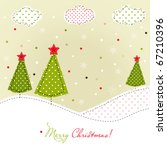 Christmas trees card, patchwork style - stock vector
