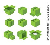 green carton recycle box icons. ...