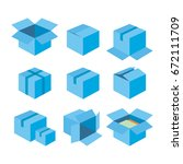 blue gift boxes icons... | Shutterstock .eps vector #672111709