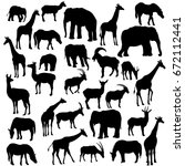 vector set of animal... | Shutterstock .eps vector #672112441