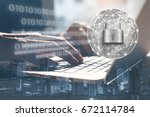 ransomware cyber security... | Shutterstock . vector #672114784