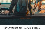 unrecognizable young man...   Shutterstock . vector #672114817