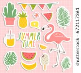 set of cute summer stickers.... | Shutterstock .eps vector #672117361