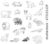 animals of north america doodle ... | Shutterstock .eps vector #672121129