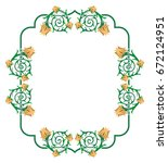 decorative frame with abstract... | Shutterstock .eps vector #672124951