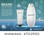 digital vector white shampoo... | Shutterstock .eps vector #672125521