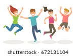 isolated young people jumping.... | Shutterstock .eps vector #672131104