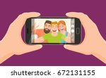 group of three friends taking a ... | Shutterstock .eps vector #672131155