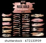Stock vector grunge rose gold ink brush strokes vector collection 672133939