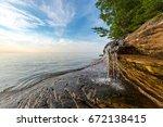 elliot falls spills over... | Shutterstock . vector #672138415