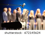microphone and music stand in... | Shutterstock . vector #672145624