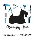 pet grooming icons set.... | Shutterstock .eps vector #672148357