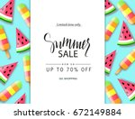 summer sale banner  poster with ... | Shutterstock .eps vector #672149884