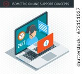 isometric online support...   Shutterstock .eps vector #672151027
