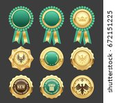 green award rosettes and gold... | Shutterstock .eps vector #672151225