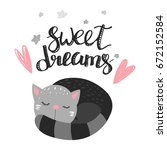 Stock vector cute cat and inscription sweet dreams vector illustration 672152584