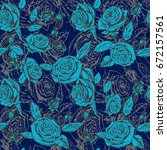 roses vector repeat awesome... | Shutterstock .eps vector #672157561